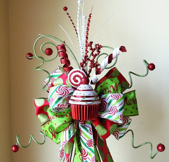 Candy christmas tree topper bow