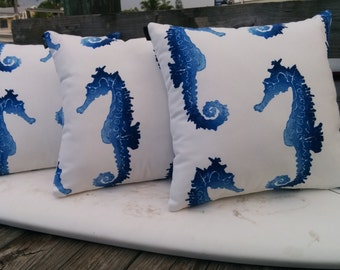 18x18 Indoor/outdoor nautical seahorse pillow cover with zipper