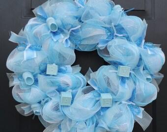 New Baby Boy Deco Mesh Wreath-Blue Deoc Mesh-Hospital Door Wreath-Baby Shower Gift-New Mom