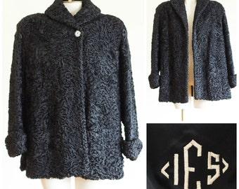 40s/50s black Persian lamb coat
