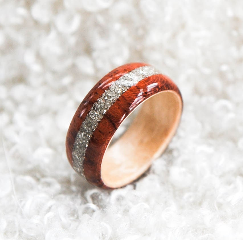 Wood Ring Hybrid Bubinga Ring German Silver Glass Inlay