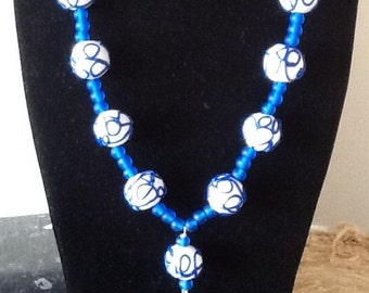 Polymer clay and glass bead necklace
