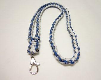 Custom Paracord Key/ID Lanyard - Blue Camo/White