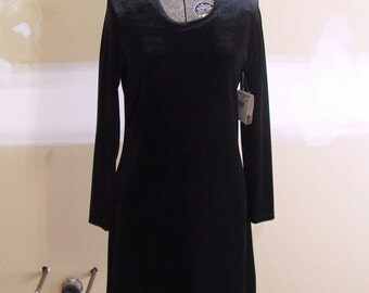 Vintage Black Velvet 1990s Mini Body-con Dress with Orig Tags