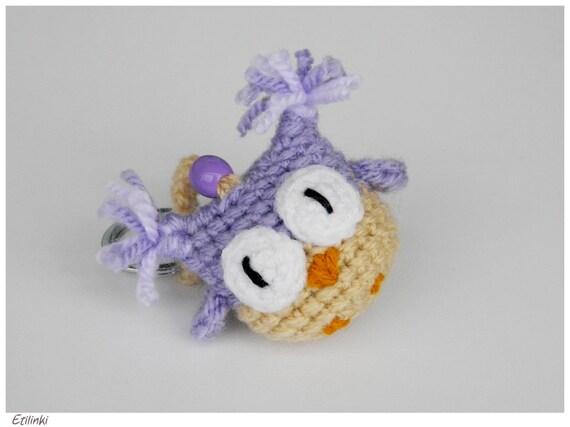 Amigurumi Owl Keychain : Purple Crochet Keychain Amigurumi Owl Lover Gifts Purple