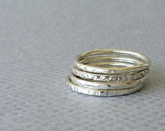 Stackable Rings. Sterling Silver Stackable Rings set of 4, Textured. Ring stack
