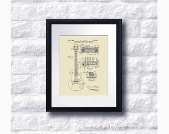 Vintage Gibson Guitar Bridge 1955 patent art print for home decor Gibson patent print #4 neutral wall art, mid century musical gear patent
