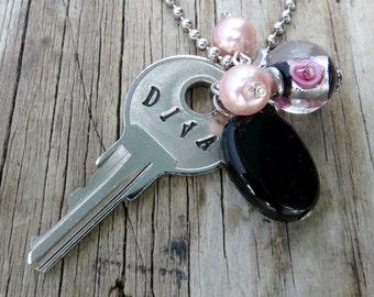DIVA Key Necklace – Engraved Key Necklace – Hand Stamped Key Necklace – Key Jewelry – Stamped Key Necklace