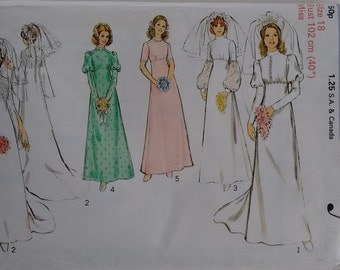 Vintage 1970's Style 4411 Sewing Pattern Wedding Dress Gown Bridal Bridesmaid Classic Simple Elegant