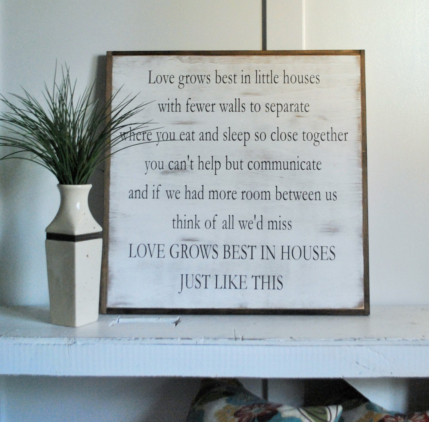 LOVE GROWS BEST in Little Houses 2X2 sign distressed shabby