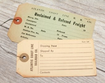 2 x Vintage Freight Tags Railroad Baggage Luggage Wire Shipping Labels Train Tags Railroad Freight Tag Atlantic Coast Line RR Hang Tags
