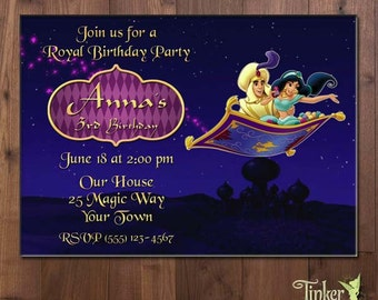 Aladdin and Princess Jasmine Birthday Party Photo Invitation - Choose from 2 Character Options  - Digital File - Printable - Disney Princess