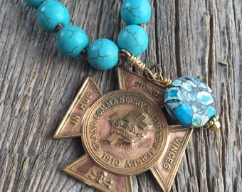 Howlite Necklace With Masonic Medal