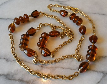 Vintage Gold Necklace with Wire Wrapped Amber Glass Beads Necklace