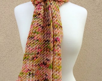 Knit Scarf, Knit Net Scarf, Pink Green Scarf, Multi Color Scarf, Confetti Net Scarf