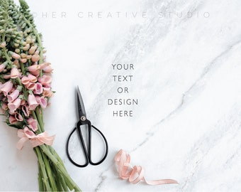 Styled Stock Photography | Bell Flowers on marble background | Floral background | Cards, invitations and prints