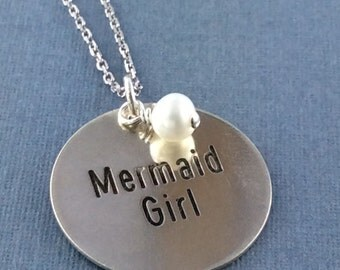 Mermaid Girl Necklace, Sterling Silver