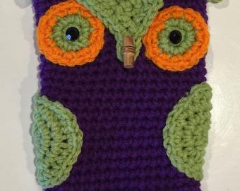 Purple, Light Green, Orange Crocheted Owl Makeup Case Toggle Closure 5x7