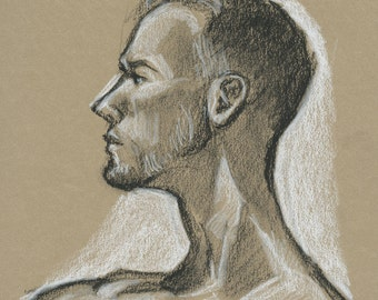 Handsome Naked Man in Profile