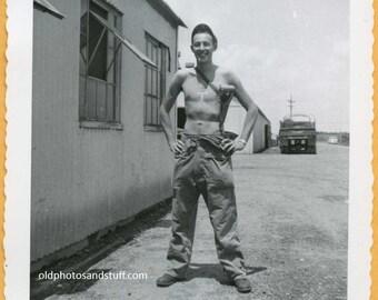 Original Vintage Snapshot Found Photo Vernacular Photo 50s Shirtless Half Naked Handsome Military Man with Pistol gun -A516