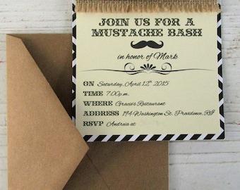 Men's Birthday Invitation, Mustache Baby Shower Invitation, Mustache Invitations, Mustache Bash, Birthday Invitations, Handmade, 5 x 7 inch
