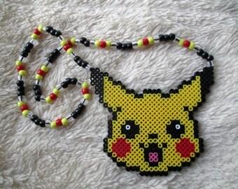 Pokemon Pikachu Sprite Perler Bead Kandi Necklace Rave EDM PLUR