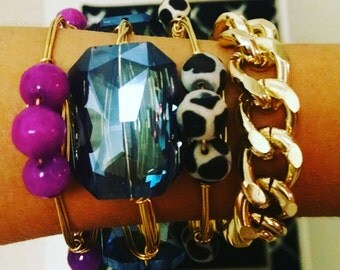 Gold Chunky Chain Statement Bracelet, Chunky Gold Bracelet, Lightweight Gold Bracelet, Large Chain Bracelet, Gold Chain Bracelet