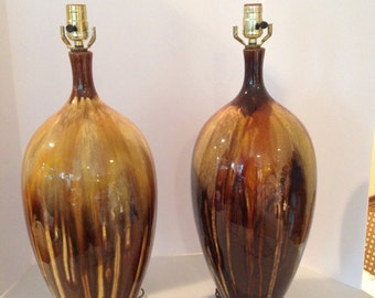 Pair of MCM Drip Glaze Lamps