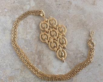 Vintage Vendome Chandelier Pendant Multistrand Chain Gold Tone 1970s Necklace