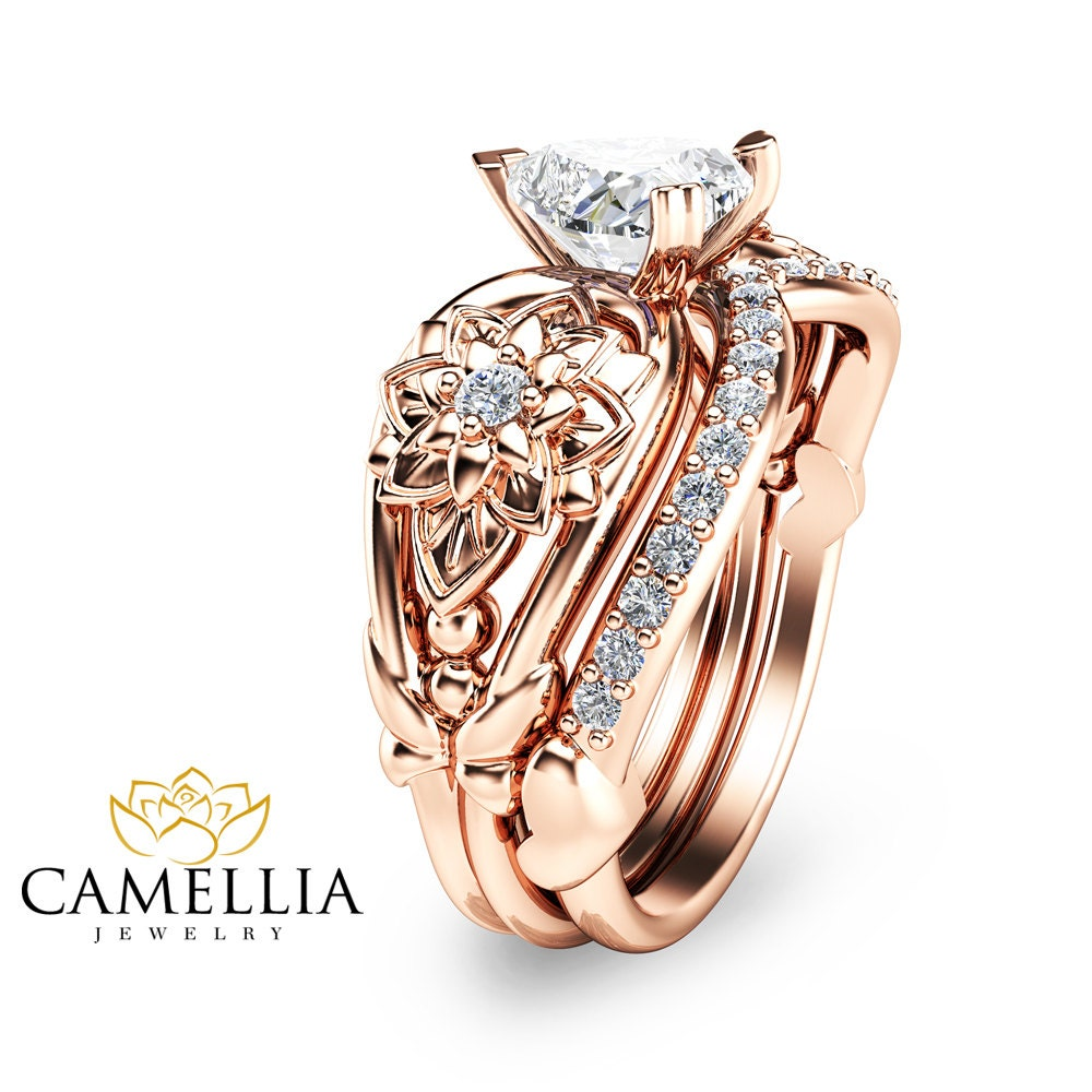 Heart Shaped Diamond Engagement Ring Set 14K Rose Gold