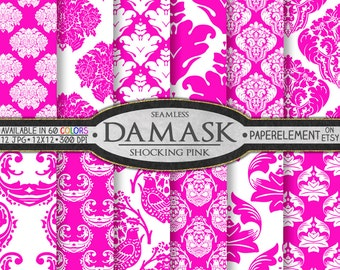 Shocking Pink Damask Digital Paper Pack - Printable Backdrops for Scrapbooking and Girls' Birthdays