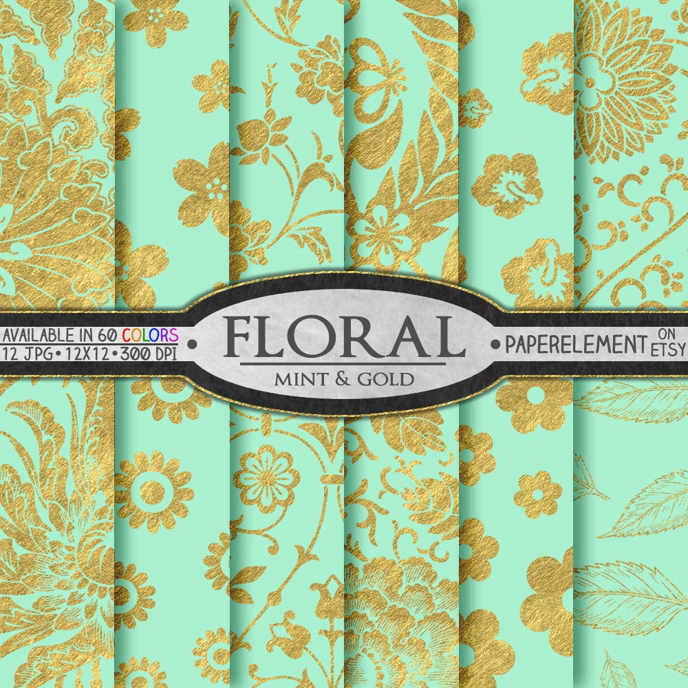 mint and gold digital paper mint and gold floral paper mint floral digital paper for mint. Black Bedroom Furniture Sets. Home Design Ideas