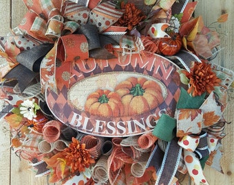 Free Shipping-Autumn Blessings Fall Mesh Wreath-Fall Door Wreath-Pumpkin Wreath-Autumn Mesh Door Wreath-Fall Decor-Fall Wreath-Autumn Decor