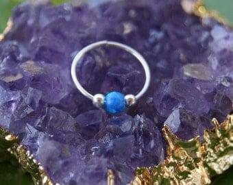 silver Cartilage Earring ,Tiny opal Cartilage hoop  24-20 Gauge,Tragus Hoop Earring