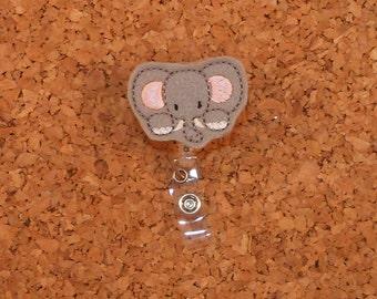Felt Badge Reel   ID Badge Reel PEEKING ELEPHANT Badge Reel   Retractable Name Holder   Nurse / Teachers / Office Workers   885