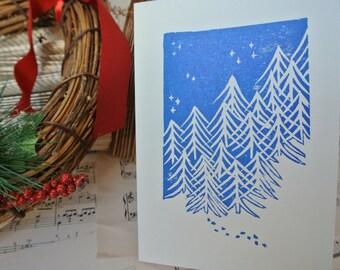 Snowy pine trees rustic handprinted Christmas card
