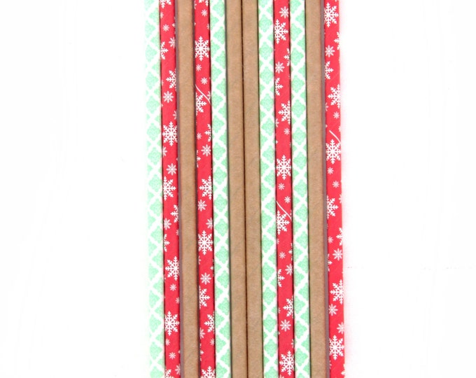 Vintage Christmas Red White Mint and Gold Christmas Straws, Red Stripe Christmas,  Red White Stripe Paper Decorative Holiday Christmas Straw