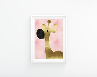 Pink and gold nursery art, Giraffe nursery print, Nursery Printable, Baby girl nursery,  Nursery wall art, Nursery decor, Pink watercolor
