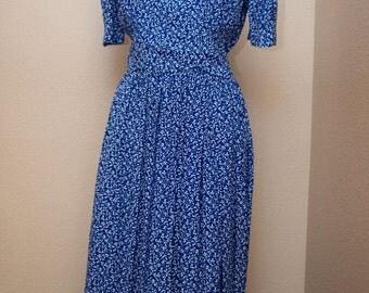 Karin Stevens ~ Vintage Blue Ivy Dress - Small/6