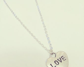 "Hand Stamped ""Tiffany"" LOVE Heart Charm Necklace"