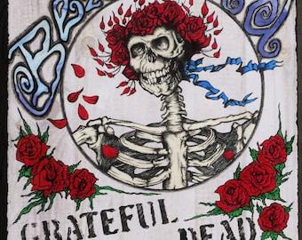 "Grateful Dead ""Bertha"" Original Artwork/Dead Head Skeleton Art/Bertha/Grateful Dead/Retro/60's Rock Art/Dead Head/ Hippie Art/Hippie Style"