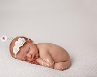Baby White Headband, Baby Flower Headband, Newborn Headband, Baby Girl Headband, Baby Headband, Flower Headband, Newborn Tieback