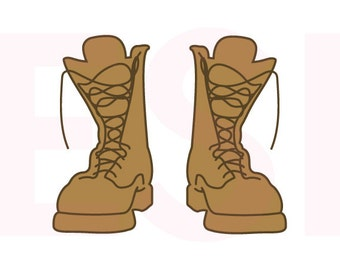 Combat Boots, Army svg, SVG, DXF, EPS cutting files for Silhouette Studio and Cricut Design space. Military svg, Boots svg,