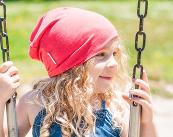 Owen Slouch Beanie - coral bamboo - infant, child, adult sizes. SALE 10% off