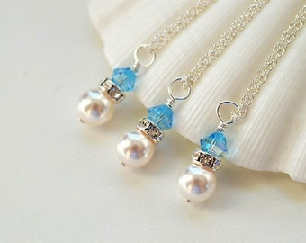Set of THREE pearl neckalces with blue Swarovski crystals Bridesmaids necklace pearl necklaces bridesmaids gifts wedding favors bridal party