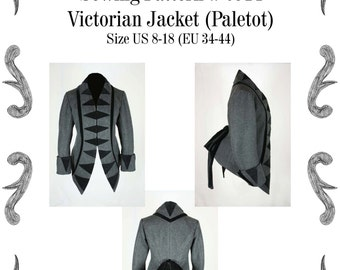 Victorian Jacket (Paletot) with stand-up collar Sewing Pattern #0914 Size US 8-30 (EU 34-56)