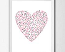 Buy 1 Get 1 Free Heart Printable 8x10 Digital Nursery Pink Gray Silver Nursery Decor Polka Dot Art Girls Room Poster Baby Girl Heart Print