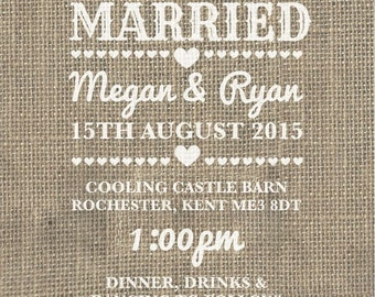 SAMPLE Hessian Burlap Rustic Country Rose Wedding Invitations
