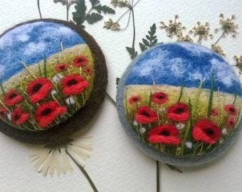 Needle felted poppy brooch  Felt brooch Felted landscapes  Felt jewelry Wool flower brooch Poppy brooch Mothers day gift Floral fashion