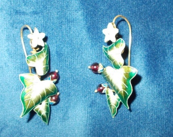 Vintage Solid sterling silver and gold wash enamel Mistletoe earrings